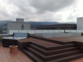 Stainless steel pool integrated in wooden terrace