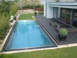 Garden swimming pool made of stainless steel