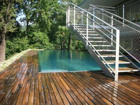 Pool with wooden terrace